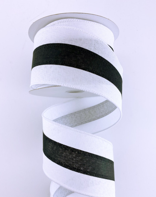 "2.5"" White Linen Center Stripe Ribbon: Black - 10Yds"