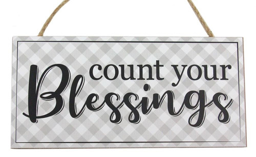 "12.5"" Grey Count Your Blessings Sign"