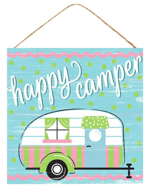 "10"" Square Happy Camper Sign"