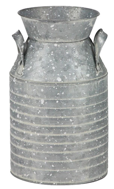 "8.5"" Ribbed Milk Can Container - Galvanized"