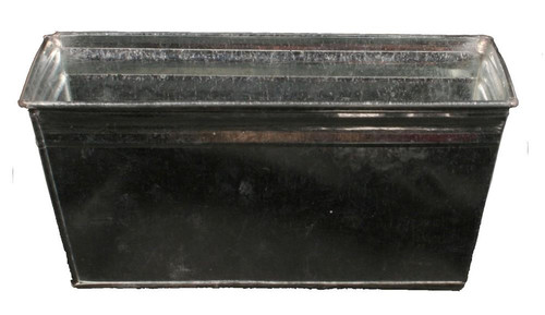 "10"" Galvanized Tin Silver Rectangle Planter"