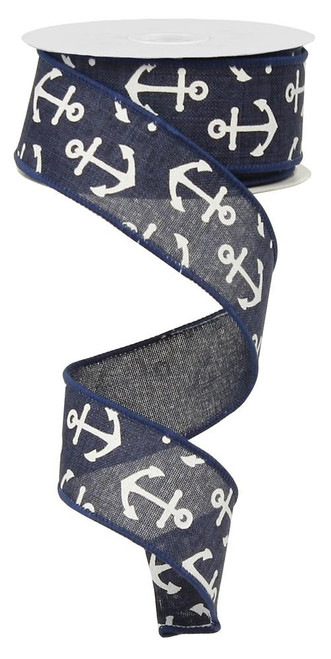 "1.5"" Canvas Anchor Ribbon: Navy Blue/White"