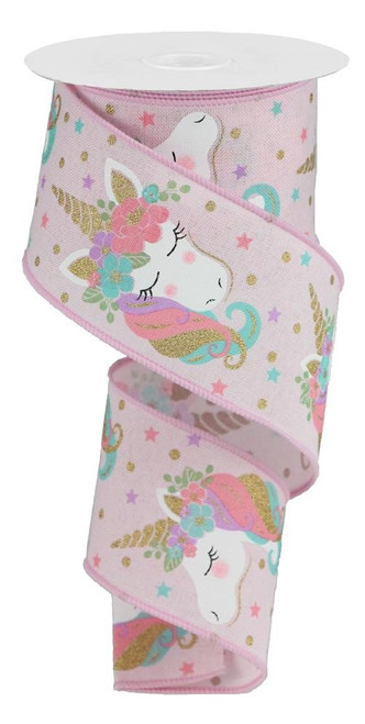 "2.5"" Unicorn Ribbon: Pink - 10Yds"