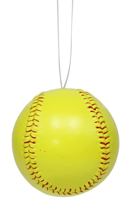 "3"" Painted Softball Ornament: Yellow/Green"