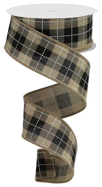 """1.5"""" Printed Woven Check Ribbon: Beige/Blk/Wht - 10Yds"""