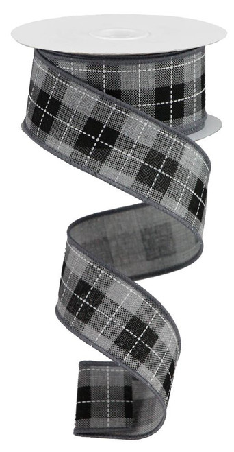 "1.5"" Printed Woven Check Ribbon: Grey/Blk/Wht - 10Yds"