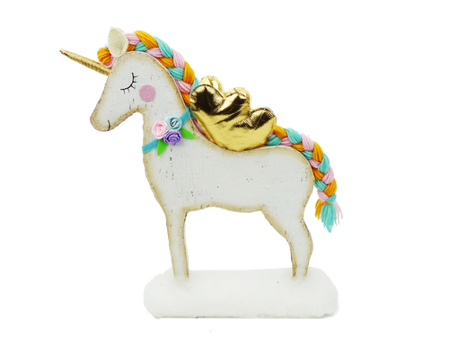 "14"" Standing Unicorn with Gold Wings"