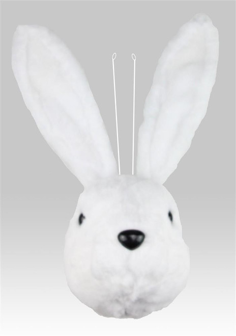 "18"" White Fur Bunny Head"