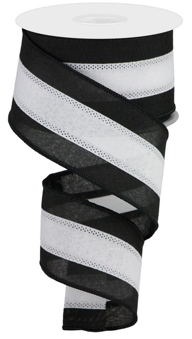 "2.5"" Tri-Stripe Ribbon: Black/White"