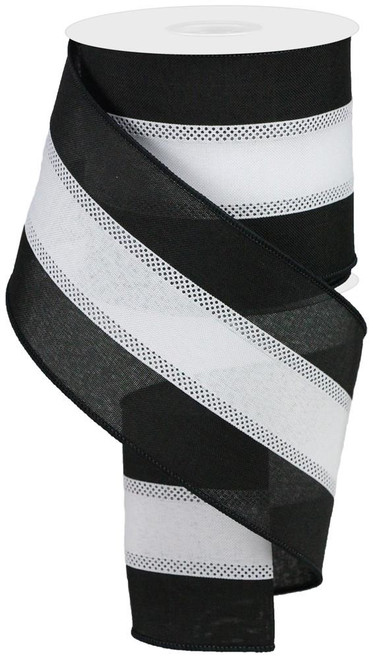 "4"" Tri-Stripe Ribbon: Black/White"