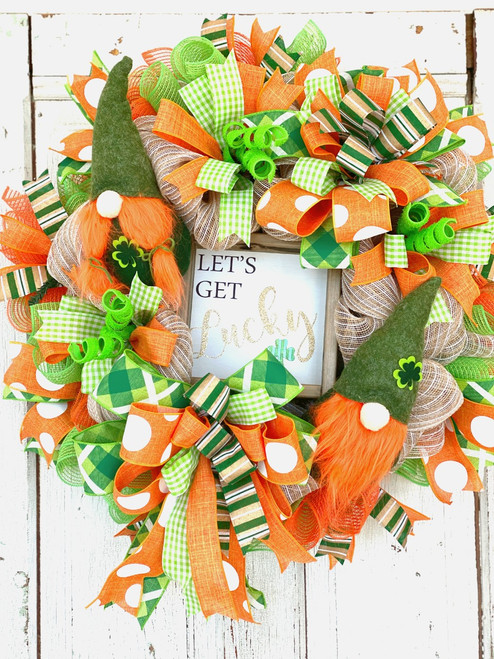 Let's Get Lucky Leprechaun Gnome Wreath