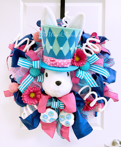 Blue/Pink Whimsical Bunny Wreath