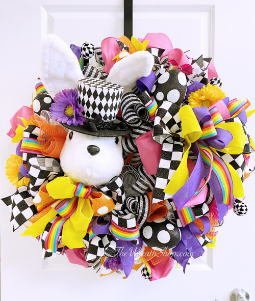 Bright Mad Hatter Style Bunny Wreath