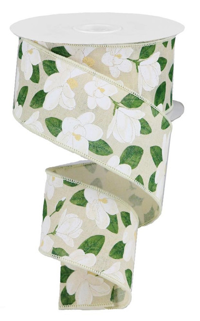 "2.5"" Magnolia Print Ribbon: Cream (10 Yds)"