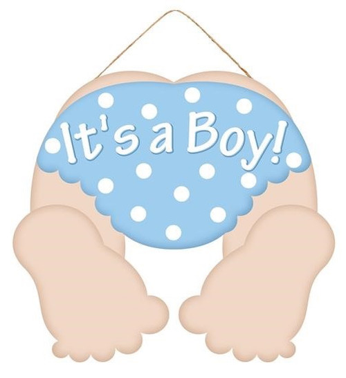 "10"" Light Skin Baby Bottom Sign: It's a Boy"