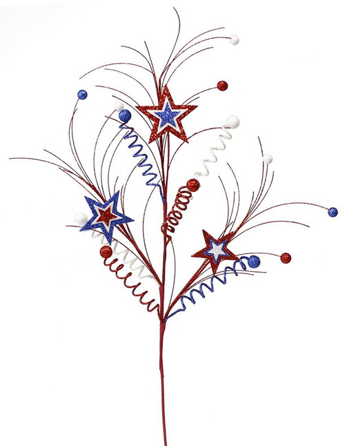 "29"" Patriotic Star Curly Ball Spray"