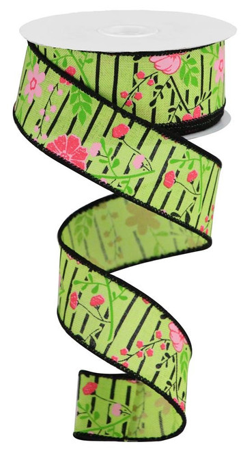 "1.5"" Floral Lines Ribbon: Green/Pink - 10Yds"