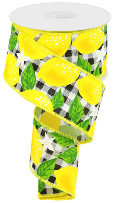 "2.5"" Lemon Check Ribbon: Black/White - 10Yd"