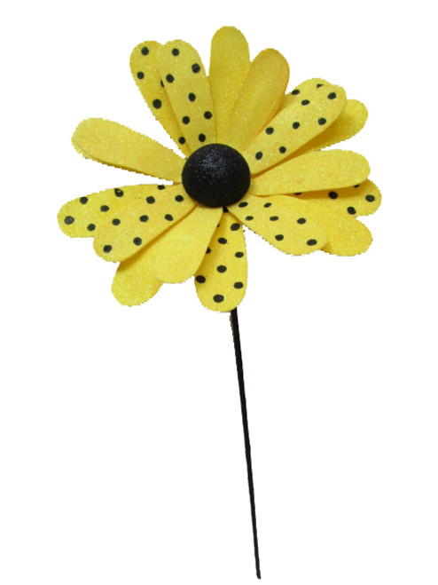 Large Yellow/Black Polka Dot Daisy Stem