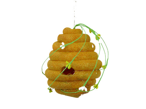 Yellow Glitter Bee Hive Ornament