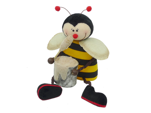 Sitting Bee with Honey Pot