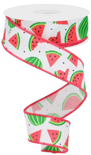 "1.5"" New Watermelon Slices Linen Ribbon: White - 10Yds"