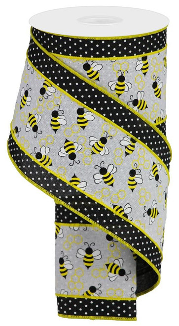 "4"" Bumblebee Swiss Dot Ribbon: Black/Wht - 10Yds"