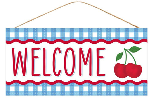 "12.5"" Welcome Cherry Sign: Blue"