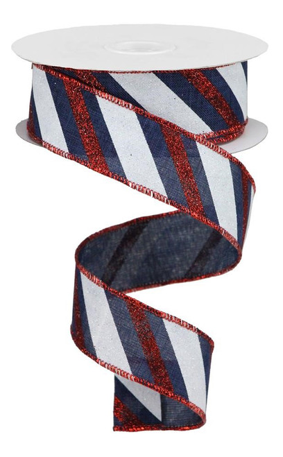 "1.5"" Diagonal Glitter Stripe Ribbon: Navy Blue/Red/White - 10yd"