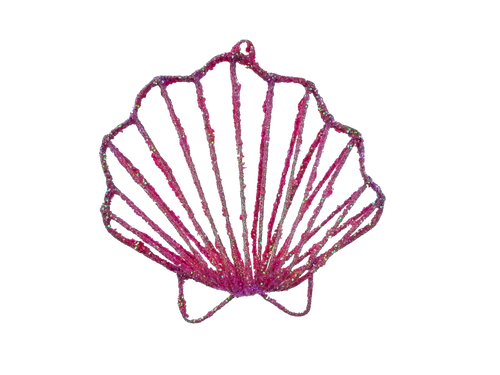 Dark Pink Shell Ornament - 6""