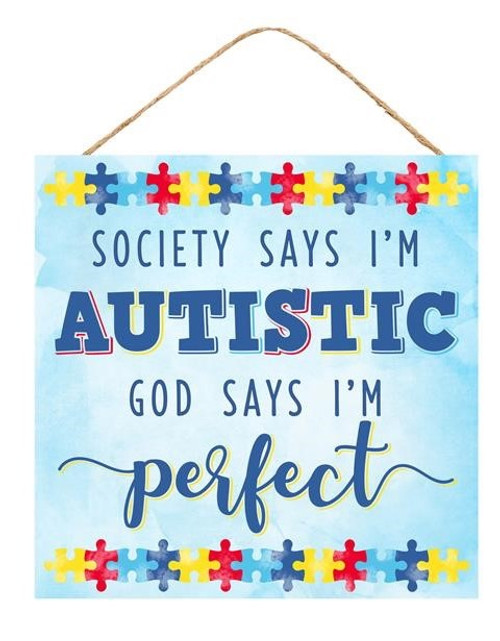 "10"" Square Autism Sign: Blue"