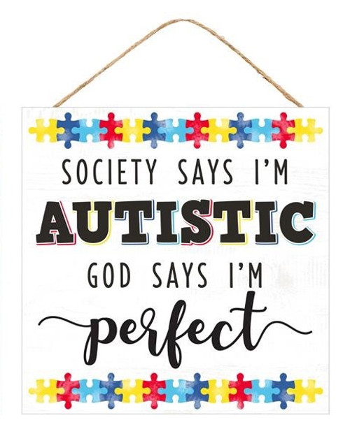 "10"" Square Autism Sign: White"