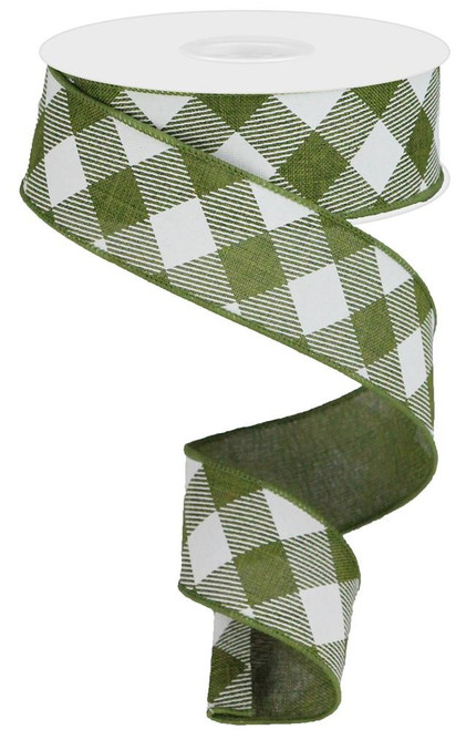"1.5"" Diagonal Check Ribbon: Moss Green/White - 10Yds"