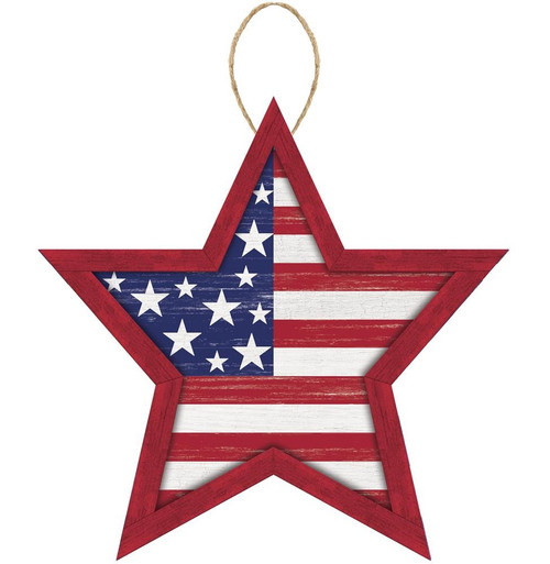 "12"" MDF Stars and Stripes Sign: Red"