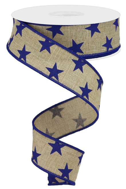 "1.5"" Linen White Star Ribbon: Beige/Navy - 10 yds"