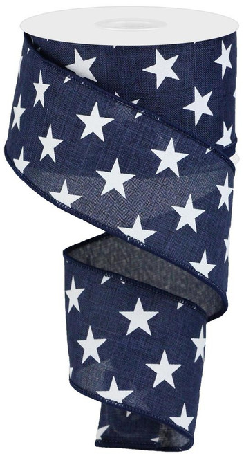 "2.5"" Linen White Star Ribbon: Navy Blue - 10 yds"