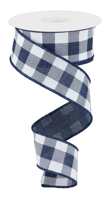 "1.5"" Bold Check Ribbon: Navy/White - 10Yds"
