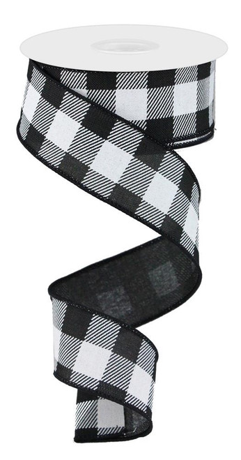 "1.5"" x 50yd Striped Check Ribbon: Black/White"