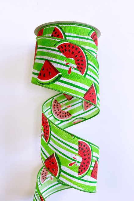 "2.5"" Juicy Watermelon Grn Stripe Ribbon - 10Yds"