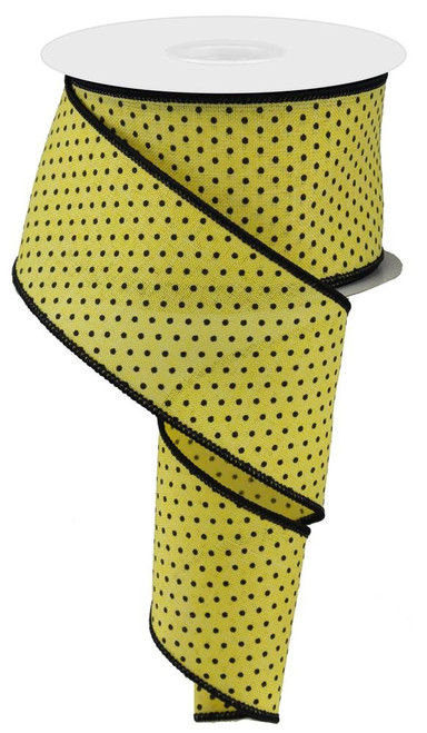"2.5"" Raised Swiss Dot Ribbon: Yellow/Black - 10yd"