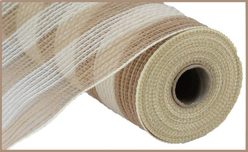 "10.5"" Poly Faux Jute Mesh: Small Natural/Cream Stripe"