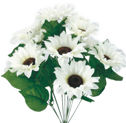 "19"" Sunflower Bush (11): White"