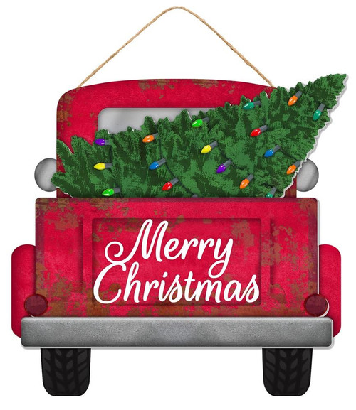 "12"" Merry Christmas Red Truck w/ Tree Lites"