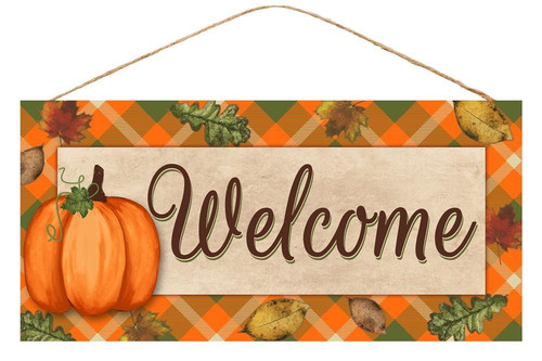 """12.5"""" Welcome Fall Plaid Sign"""