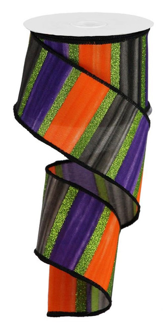 "2.5"" Halloween Watercolor Stripe Ribbon: Black/Org/Purple/Lime - 10yds"