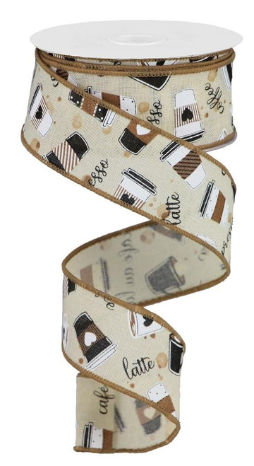 "1.5"" Coffee Cup Ribbon: Cream (10yds)"