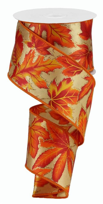 "2.5"" Fall Leaves on Satin Ribbon - 10Yds"