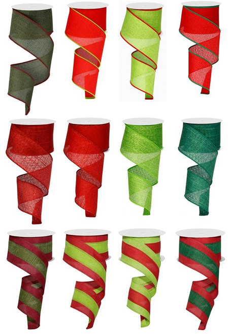 "2.5"" Lime/Red/Emerald Ribbon Assortment, Box of 12"