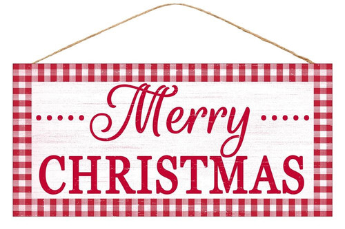 "12.5"" Red/Wht Gingham Merry Christmas Sign"