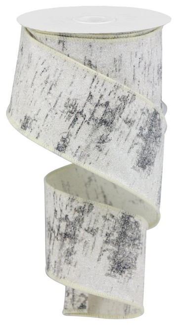 "2.5"" Glitter Birch Bark Ribbon: Cotton - 10yds"